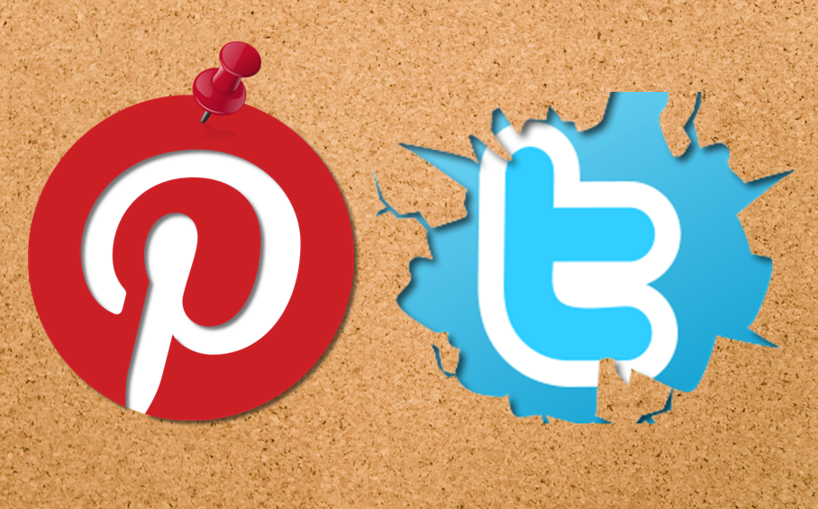 Pinterest And Twitter Logos On Pinboard