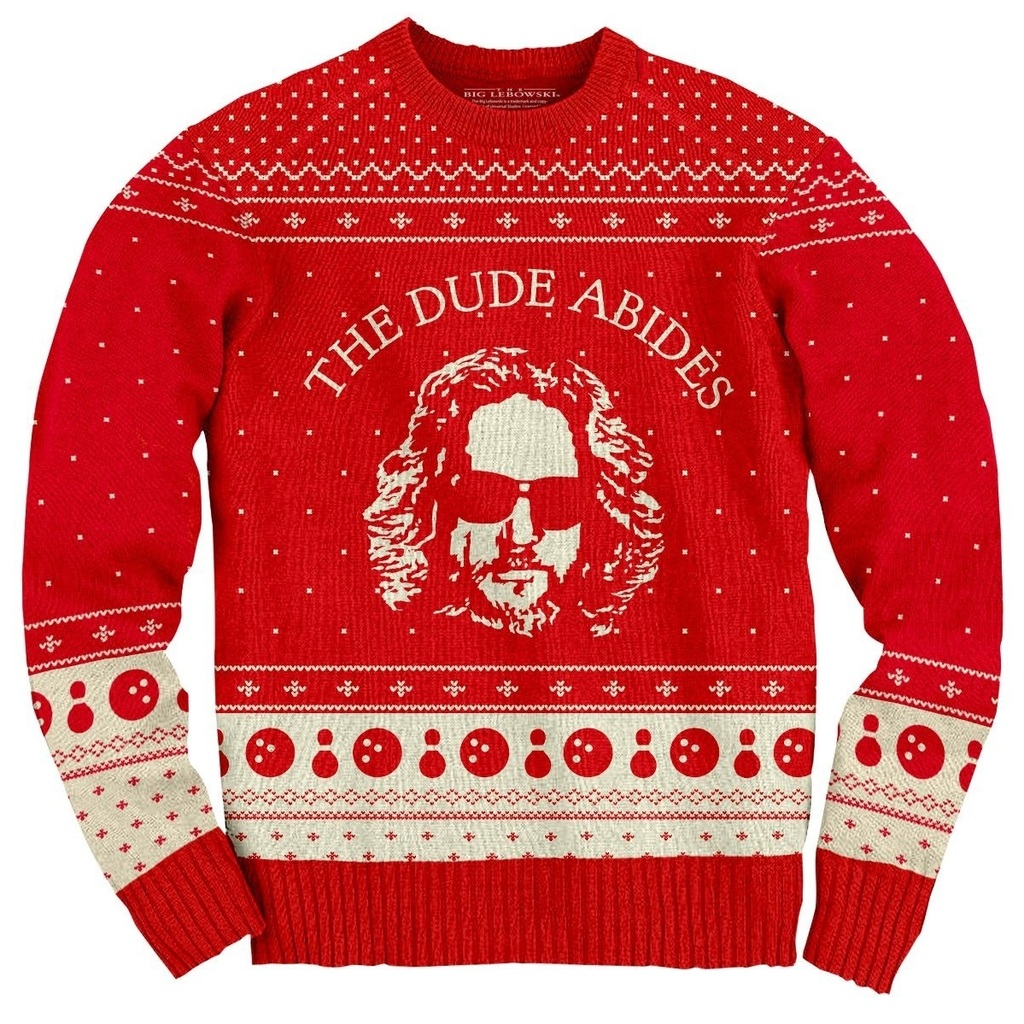 The-Big-Lebowski-The-Dude-Abides-Ugly-Christmas-Sweater-front-bigl020